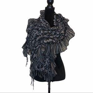 Grey scrunch blanket scarf with fringe details